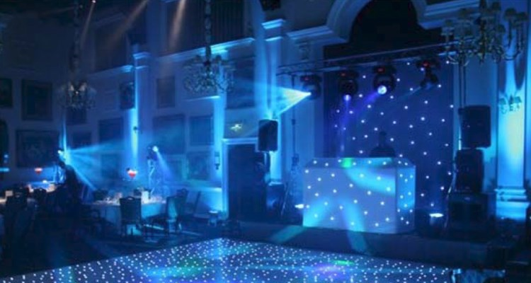 Dancefloor in blue lighting